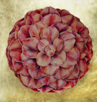 """CAMELLIA"", Watercolor & 23K Gold Leaf on Paper, 22""x22"", 1974"