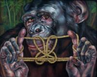"String Games: ""THE RABBIT"", Oil & 23K Gold Leaf on Linen, 16""x20"", 2001"