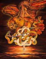 """""""RED EAGLE"""", Water Color & 23K Gold Leaf on Paper, 52""""x41"""", 1990"""