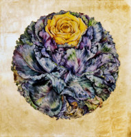 """CABBAGE ROSE"", Watercolor & 23K Gold Leaf on Paper, 22""x22"", 1975"