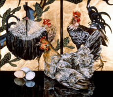 """CHICKEN & JAPANESE SCREEN"", Water Color & 23K Gold Leaf on Paper, 24""x27"", 1984"