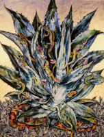 """BIG AGAVE"", Watercolor & 23K Gold Leaf on Paper, 40""x30"", 1985"