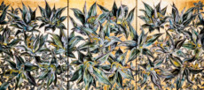 """AGAVE TRIPTYCH"", Watercolor & 23K Gold Leaf on Paper, 30""x66"", 1985"