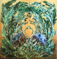 """ARTICHOKE LEAVES"", Watercolor & 23K Gold Leaf on Paper, 26""x26"", 1976"
