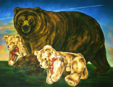 """BEAR WITH CUBS"", Oil & 23K Gold eaf on Linen, 31""x40"", 1996"