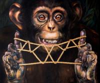 "String Games: ""THE KIWI"", Oil & 23K Gold Leaf on Linen, 16""x19"", 2000"