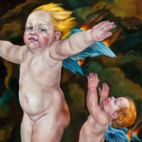 """""""The Icarus Project #24"""" - Oil and 23K Gold Leaf on Panel. 16"""" x16"""""""