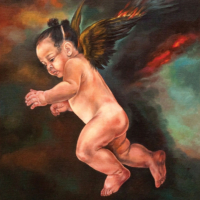 """""""The Icarus Project #4"""" - Oil and 23K Gold Leaf on Panel. 16"""" x16"""""""
