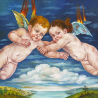 """""""The Icarus Project #6"""" - Oil and 23K Gold Leaf on Panel. 16"""" x16"""""""