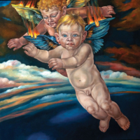 """The Icarus Project #28"" - Oil and 23K Gold Leaf on Panel. 16"" x16"""