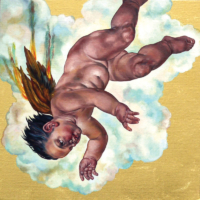 """The Icarus Project #30"" - Oil and 23K Gold Leaf on Panel. 16"" x16"""