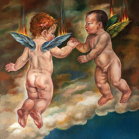 """""""The Icarus Project #32"""" - Oil and 23K Gold Leaf on Panel. 16"""" x16"""""""