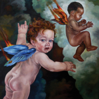 """The Icarus Project #34"" - Oil and 23K Gold Leaf on Panel. 16"" x16"""