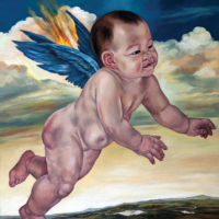 """""""The Icarus Project #20"""" - Oil and 23K Gold Leaf on Panel. 16"""" x16"""""""
