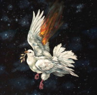 """""""The Icarus Project #17"""" - Oil and 23K Gold Leaf on Panel. 16"""" x16"""""""