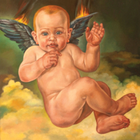 """""""The Icarus Project #8"""" - Oil and 23K Gold Leaf on Panel. 16"""" x16"""""""
