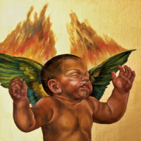 """""""The Icarus Project #2"""" - Oil and 23K Gold Leaf on Panel. 16"""" x16"""""""