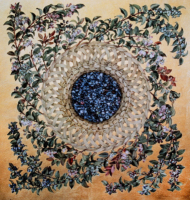 """""""HUCKLEBERRY CYCLE"""", Water Color & 23K Gold Leaf on Paper, 26""""x22"""", 1978"""