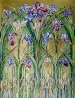 """IRIS GOTHIC"", Water Color & 23K Gold Leaf on Paper, 30""x22"", 1977-78"