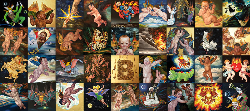 """""""THE ICARUS PROJECT"""", Oil & Gold Leaf on 36 individual Linen Panels, each 16""""x16"""""""