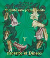 "Flora in Green: ""CHILEAN"", (Medium), Acrylic, Oil & 23K Gold Leaf on Linen, 42""x35"" 2016 - Thank you, M.G."